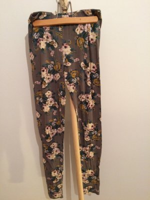 Leggings von Modström, grau mit Blumenmuster