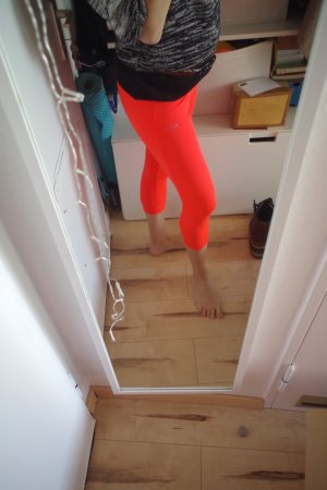 Leggins Sport Fitness Yoga Pilates 3/4 Bein Tasche orange