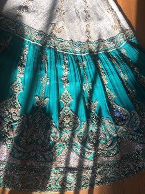 "Lehenga Choli Embroidery Designer Hochzeitsrock ""Indian Bollywood"" - petrol grün, Gr. 40 #Handmade #Dupatta #Tribal"
