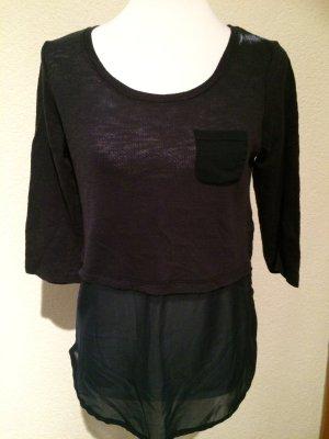 leicht durchsichtiges Shirt / Longsleeve von Only mit Bluseneinsatz - Gr. XS