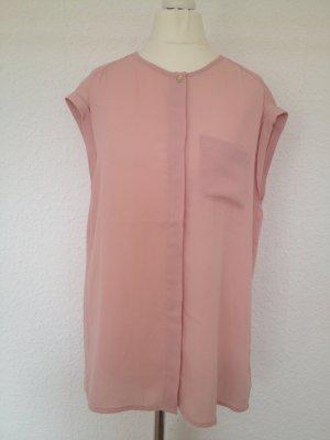 Leicht transparente Bluse | Altrosa | Brusttasche