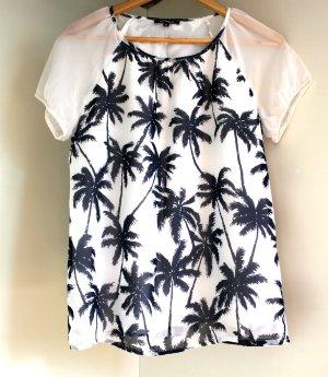 Leicht transparente Bluse More&More mit Palmenprint