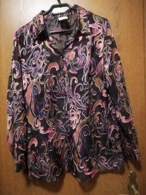 Leicht transparente Bluse schwarz mit floralem Muster im Ausbrenner-Design