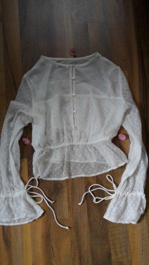 leicht transparente Bluse von Bershka in weiß