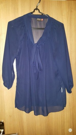 Only Blusa collo a cravatta blu-blu scuro