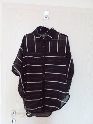 Leicht transparente Oversize Bluse gestreift