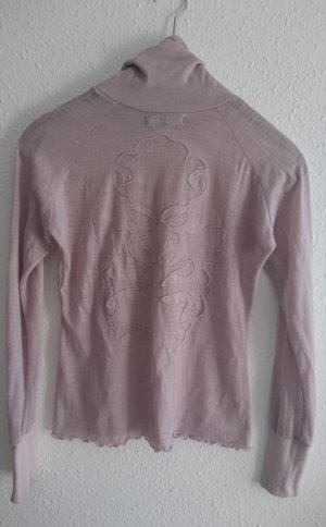 leicht transparenter Rollkragen Pulli in Powder Rose