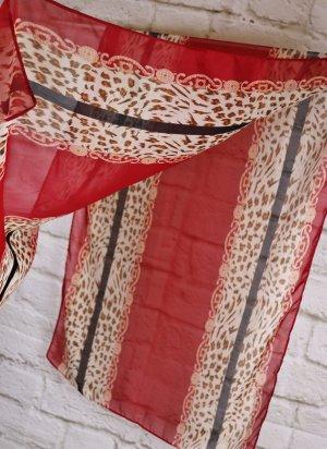 Leicht XXL Schal Tuch Transparent Rot Schwarz Beige Leo Streifen Muster Seidig