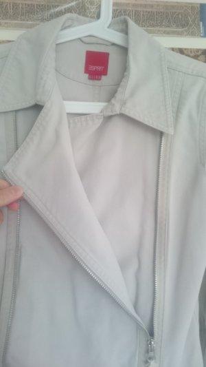 Esprit Biker Jacket cream-silver-colored cotton