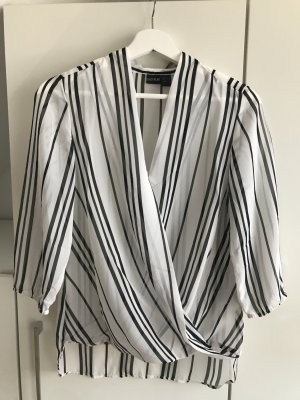 Wraparound Blouse white-black