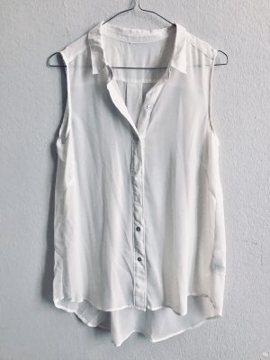 leichte Bluse ärmellos mit Kragen 36/S weiss