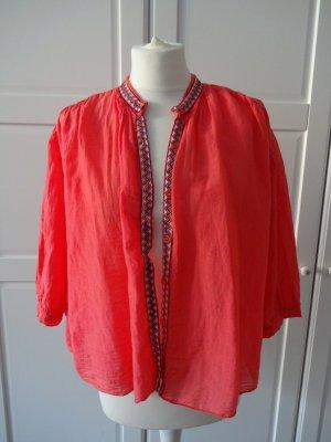 Blusa-camisa magenta Algodón