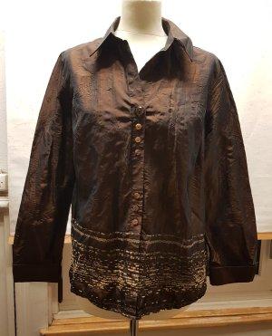 leichte Bluse Jacke, bronze, Knitteroptik, Bonita, Gr. 40