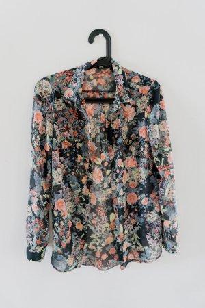 Leichte Bluse mit Blumen Print und Nieten an den Brusttaschen / Gr.S