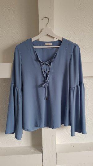 Carla G. Ruche blouse lichtblauw