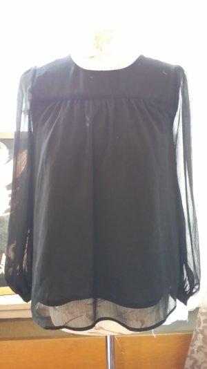 leichte Bluse mit semitransparenten Ärmeln in schwarz 34