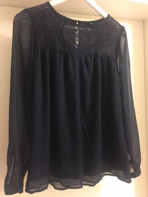 H&M Transparante blouse donkerblauw