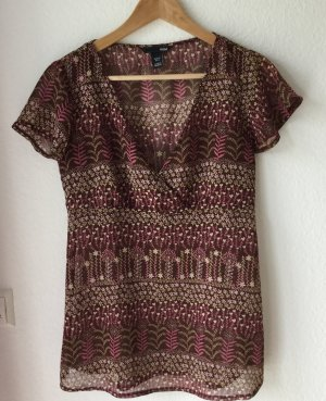 H&M Slip-over blouse roodbruin-bruin-paars