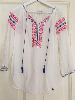 Leichte Boho-Bluse Baumwolle mit Stickereien weiß - 36
