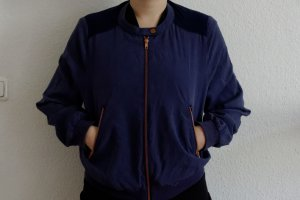 Monki Bomber Jacket steel blue-dark blue mixture fibre