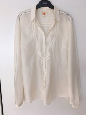 Leichte Designer Bluse mit Smokingfalten und Spitzeneinsätzen
