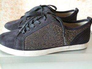 leichte dunkelblaue Wildleder-Sneakers // bequem // Wechselfußbett // Gr. 38,5