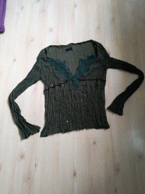 leichte gekrinkelte Bluse mit Pailletten schöner Spitze am Ausschnitt