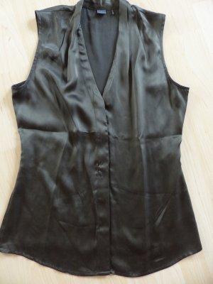 Leichte, glänzende SIR OLIVER Bluse ohne Ärmel, Farbe: oliv in Gr. 36 - 100% Seide