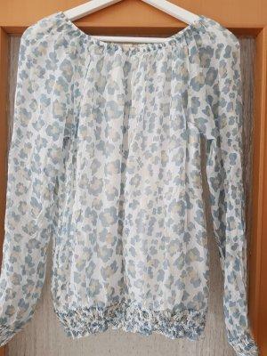 Blouse oversized gris clair-bleu pâle