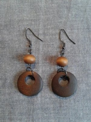 Pendientes colgante coñac-marrón madera