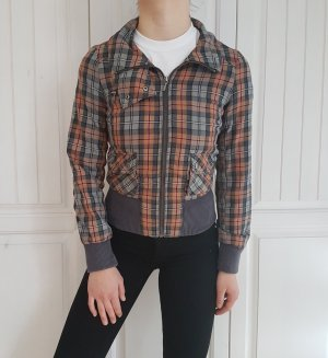Leichte Jacke biker bikerjacke kariert grau cardigan hoodie sweater Pulli Pullover tshirt shirt