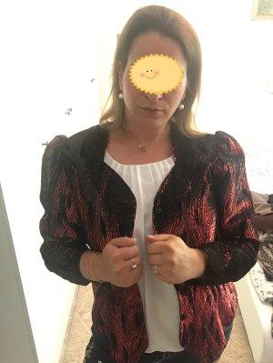 Leichte Jacke / Blazer rot schwarz glitzer Vintage