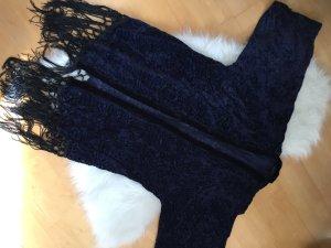 Leichte Jacke in dunkelblau mit Samt-Muster