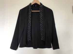 Leichte Jacke mit Perlenbesatz, schwarz, Gr. 38
