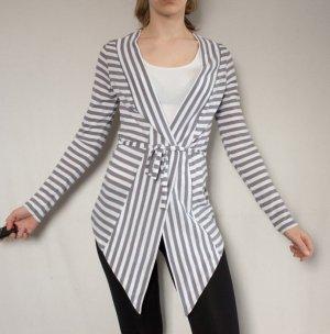Leichte lange Jacke von Esprit, Grau/Weiß-gestreift, Gr. S