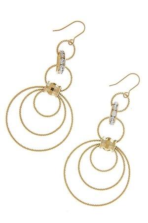 Leichte Lange Ohrringe Creolen Kreolen Ohrhänger Ringe Motiv Vergoldet Gold Kristall Klar Transparent 7 cm lang