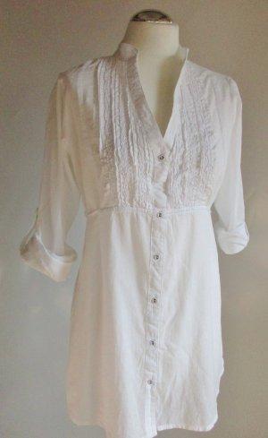 Leichte Long Tunika Bluse Gina Benotti Größe M 38 40 Weiß Longbluse Stehkragen V- Neck Rüschen Tailliert Hemdbluse Hemd romantisch Baumwolle