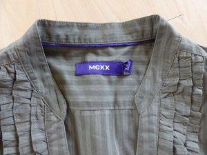 Leichte olivfarbene MEXX Kurzarmbluse mit Rüschen, Gr. 38
