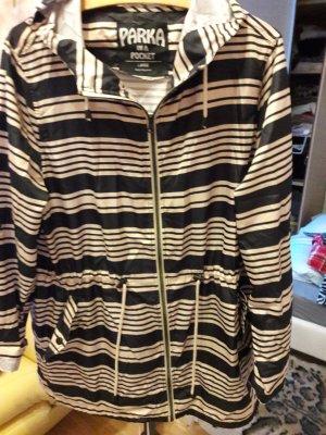 Manteau à capuche bleu-blanc polyester
