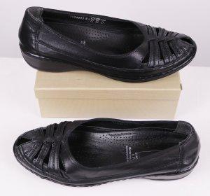 Medicus Peep Toe Ballerinas black leather