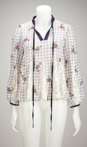 Leichte & schwingende Bluse mit Blumenmuster und Spitzeneinsatz
