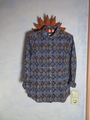 leichte Sommer Bluse 0039 Italy Blau Geometrisch Floral Muster Gr. S M Cosy Cotton Hemd
