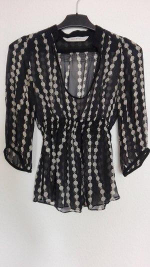 Zara Basic Zijden blouse wit-zwart Zijde