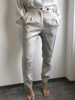 Zara Basic Pantalon à pinces beige clair viscose