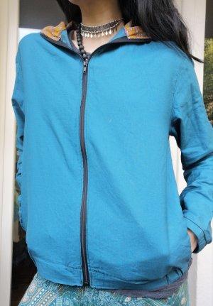 Giacca con cappuccio blu fiordaliso-turchese