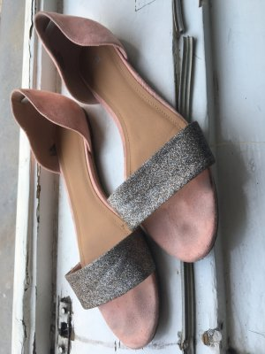 H&M Peep Toe Ballerinas dusky pink-silver-colored