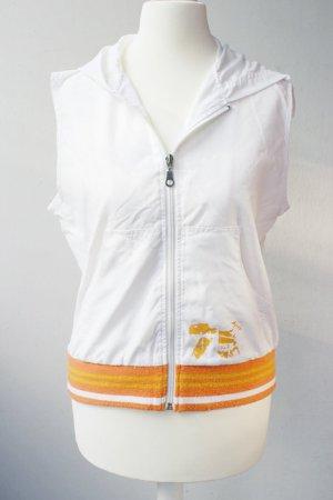 Leichte Sommerweste Gr. S mit Kapuze weiß/orange