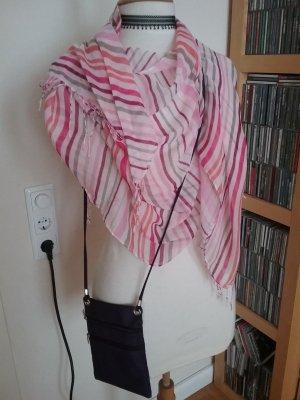 Leichte Stola/ Tuch mit Streifen und Fransen mit passender kleiner Tasche