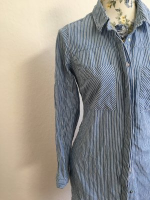Leichte Tunika Bluse / Hemd ❤️ blau - weiß gestreift ❤️ Baumwolle pur