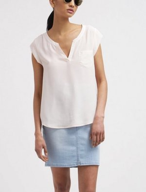 leichte Tunika Bluse Opus creme weiss V Ausschnitt Shirt 42